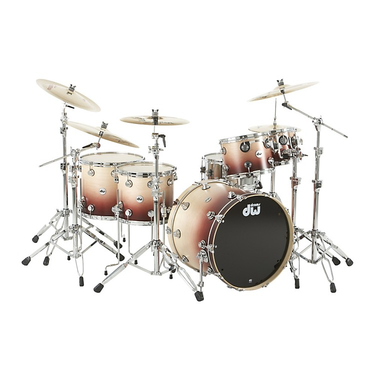 DW Collector's Series Satin Specialty 5-Piece Shell Pack Natural to Ox Blood Red Fade Chrome Hardware
