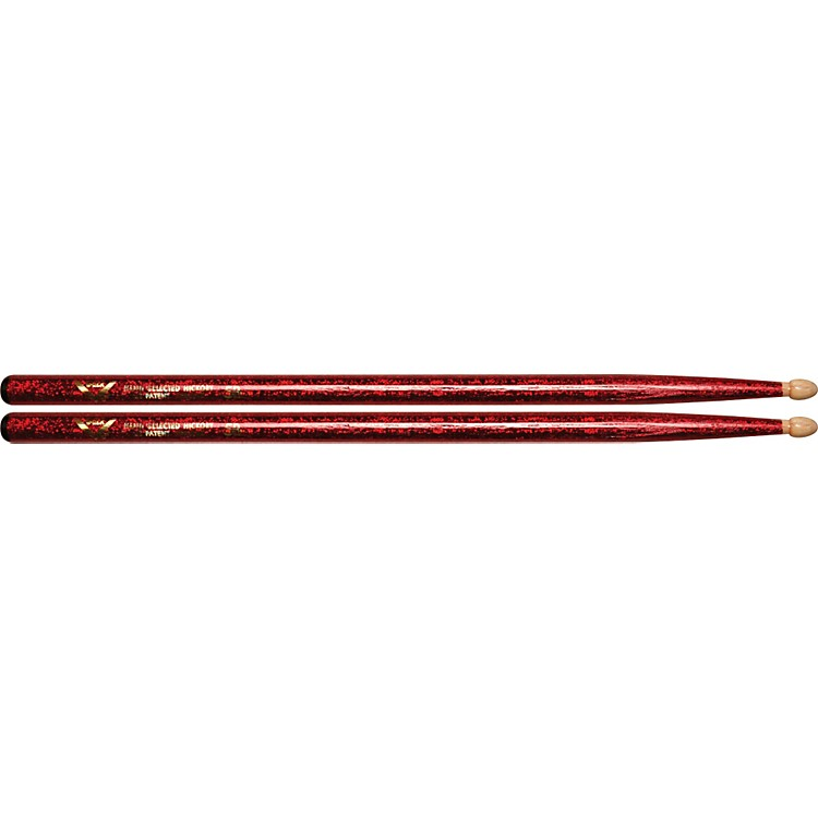 Vater Color Wrap Wood Tip Sticks - Pair 5B Red Sparkle