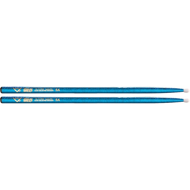 Vater Colorwrap Nylon Tip Sticks - Pair Blue Sparkle 5A