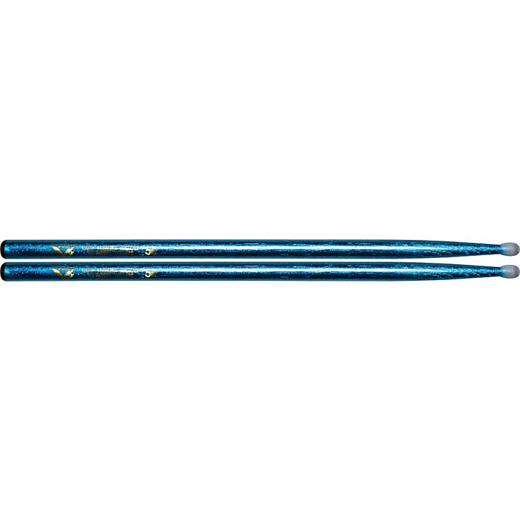 Vater Colorwrap Nylon Tip Sticks - Pair Blue Sparkle 5B