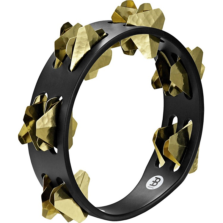 MeinlCompact Super-Dry Wood Tambourine Two Rows Brass JinglesBlack
