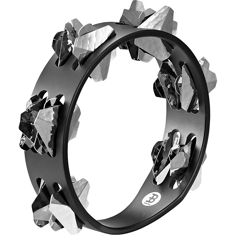 Meinl Compact Super-Dry Wood Tambourine Two Rows Hand-Hammered Stainless Steel Jingles Black