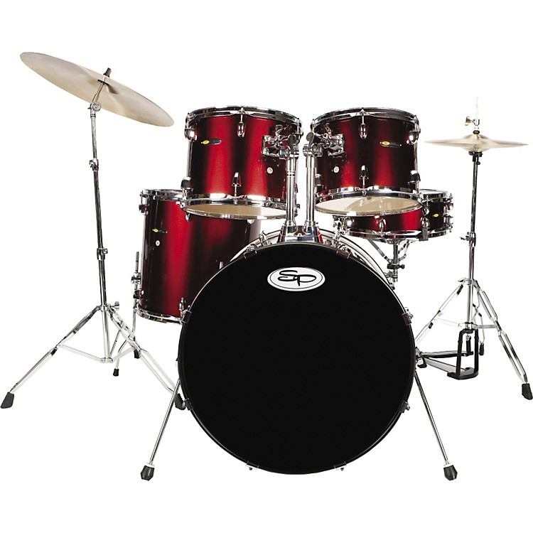 Sound Percussion Complete 5-Piece Drum Set with Cymbals & Hardware Wine Red