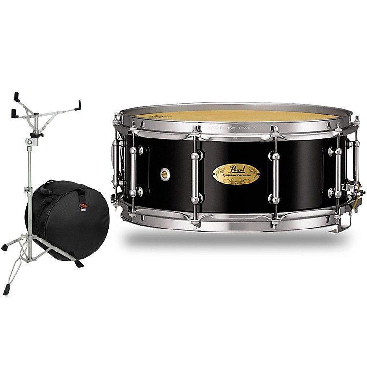 Pearl Concert Series Snare Drum with Stand and Free Bag 14 x 6.5 in. Piano Black