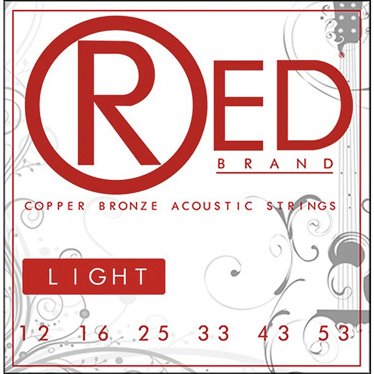Red Strings Copper Bronze Acoustic Guitar Strings - Light