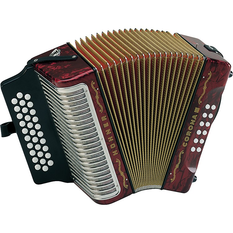Hohner Corona III FBbEb Accordion Pearl Red
