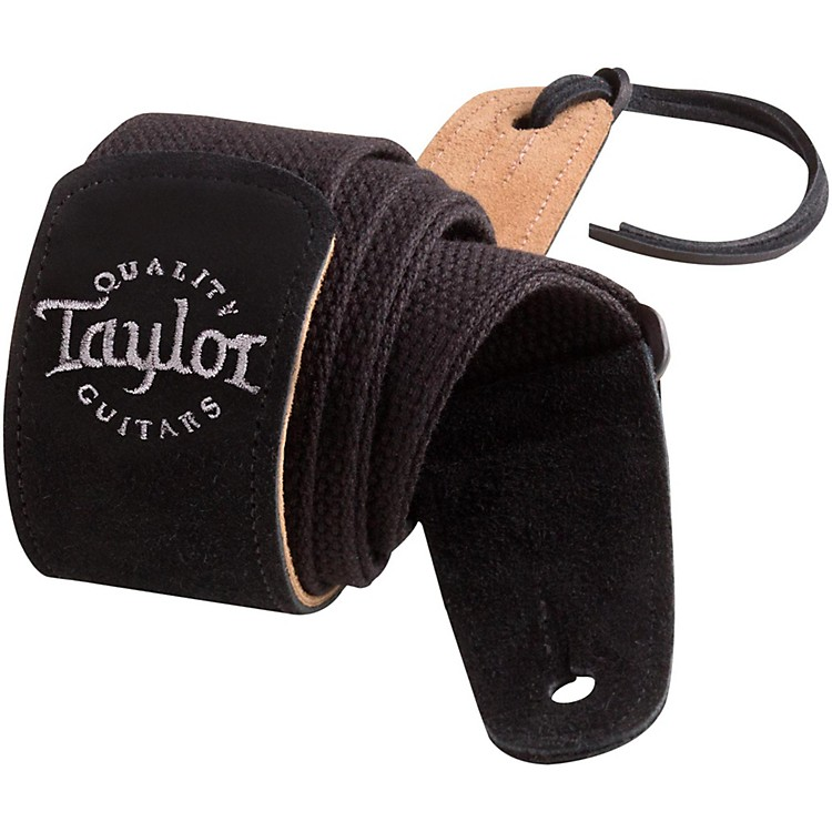 TaylorCotton Guitar Strap with Suede EndsBlack