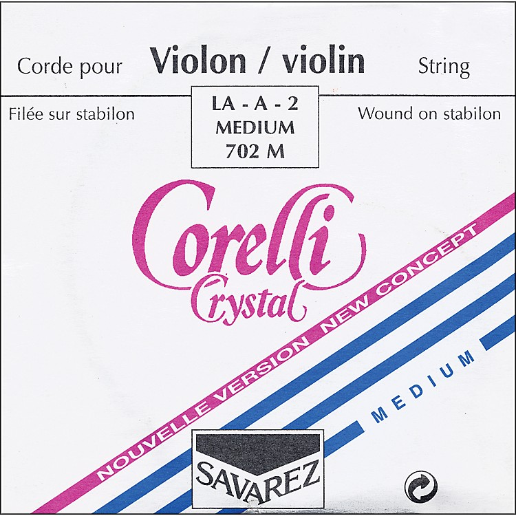 Corelli Crystal Violin Strings A, Medium 4/4 Size