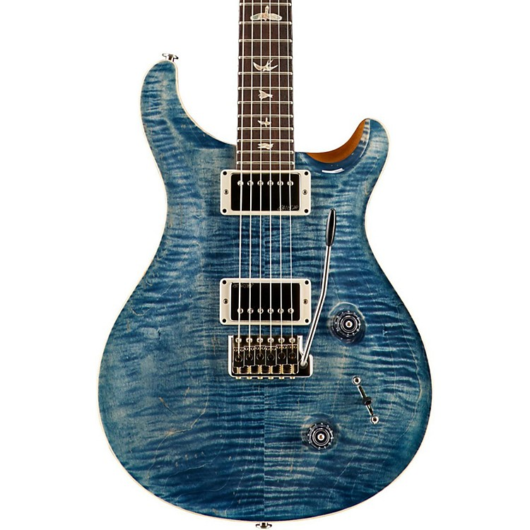 PRSCustom 22 Carved Flame Maple Top with Nickel Hardware Solid Body Electric GuitarFaded Whale Blue