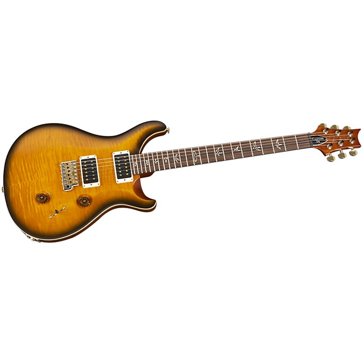 PRS Custom 24 Flame Top Electric Guitar Amber Black Hybrid Hardware