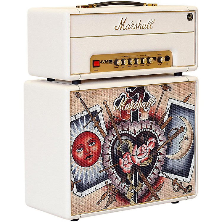 Marshall Custom Tattoo Emily Wood Stack JVM-1H 1W Tube Guitar Head and 1x10 Cab