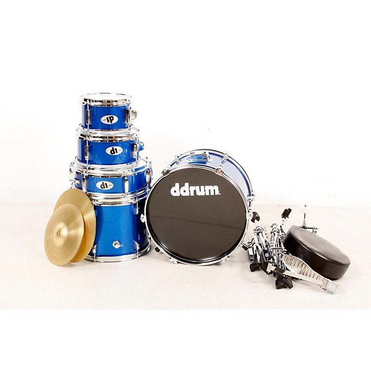 Ddrum D1 5-Piece Junior Drum Set with Cymbals Police Blue 888365896649