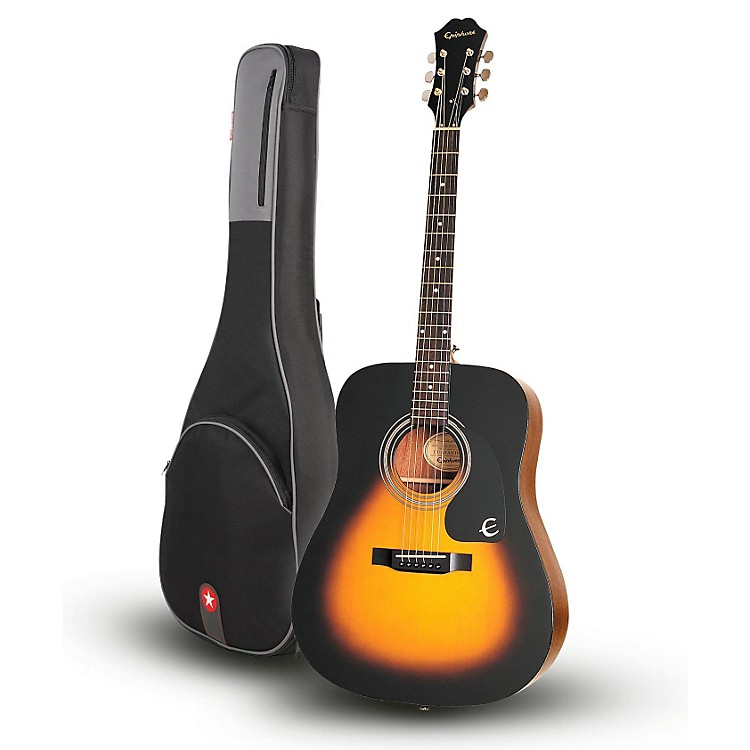 EpiphoneDR-100 Acoustic Guitar Vintage Sunburst with Road Runner RR1AG Gig Bag
