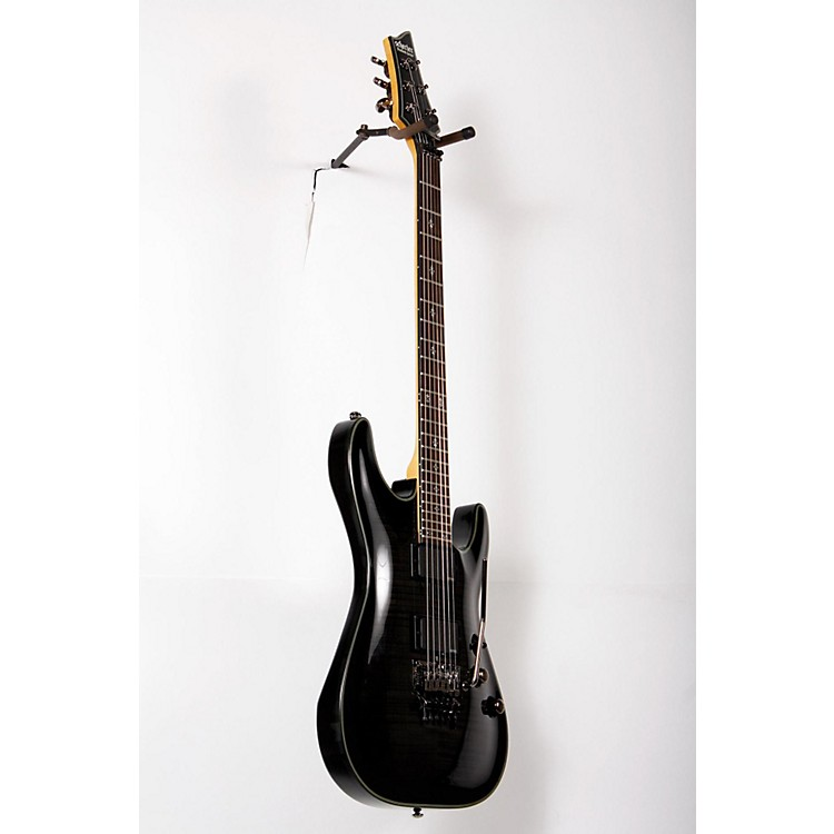 Schecter Guitar Research Damien Elite-6 Electric Guitar with Floyd Rose Transparent Black Burst 888365848075