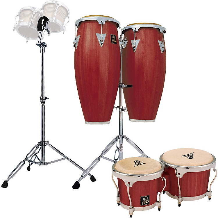 LPDarkwood Aspire Conga Set with Bongos and Stand