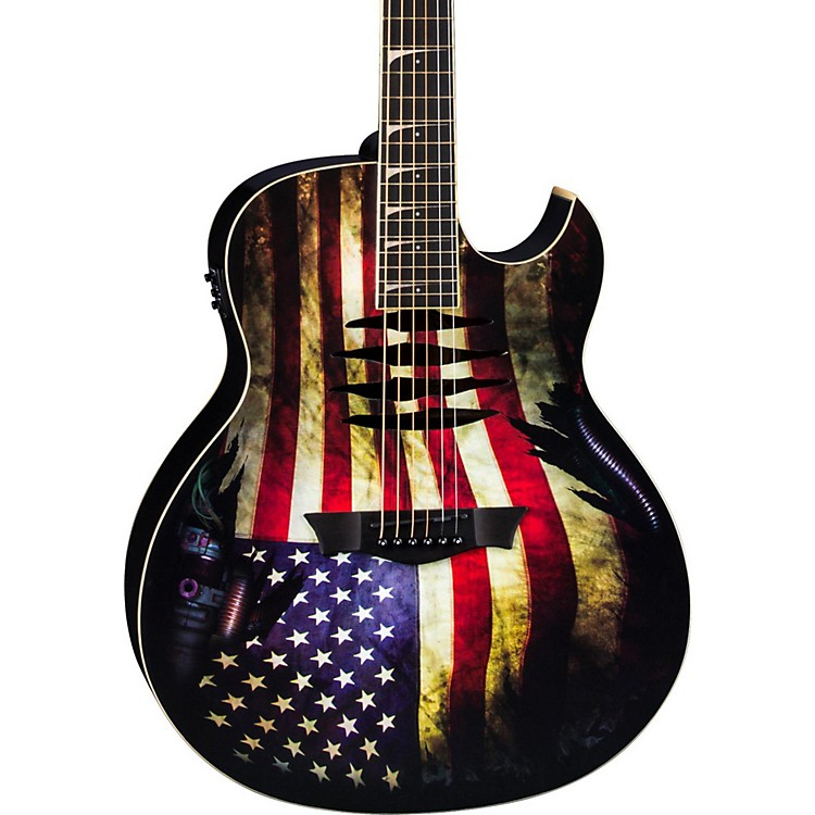 DeanDave Mustaine Mako Glory Acoustic-Electric GuitarUSA Flag Graphic