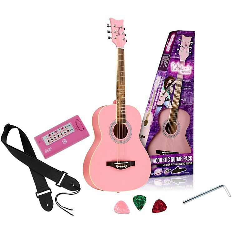 Daisy Rock Debutante Junior Miss Acoustic Guitar Pack Bubble Gum Pink