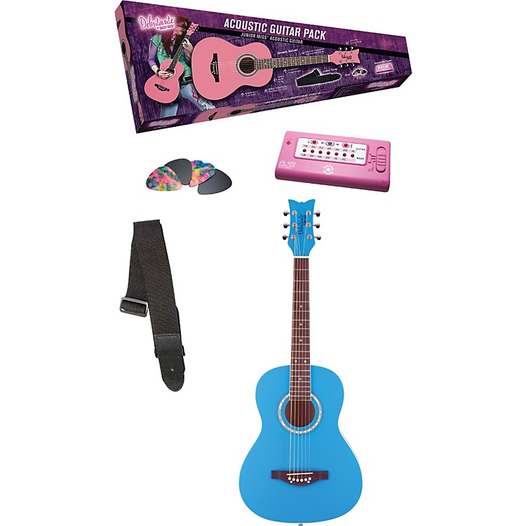 Daisy Rock Debutante Junior Miss Acoustic Guitar Pack Cotton Candy Blue