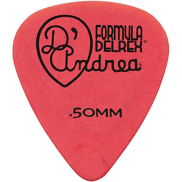 D'Andrea Delrex Delrin Guitar Picks - One Dozen Red .50 mm
