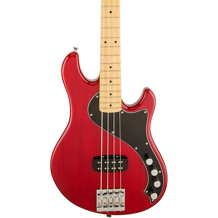 Squier Deluxe Dimension Bass IV Maple Fingerboard Electric Bass Guitar Transparent Crimson Red
