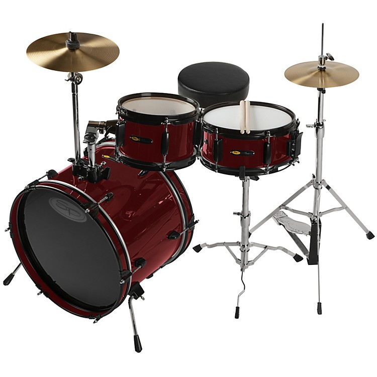 Sound Percussion Deluxe Jr. 3-Piece Drum Set Wine Red