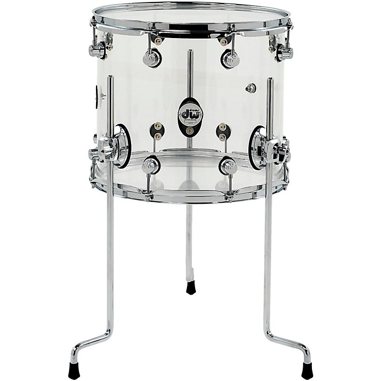 DWDesign Series Acrylic Floor Tom with Chrome Hardware14 x 12 in.Clear