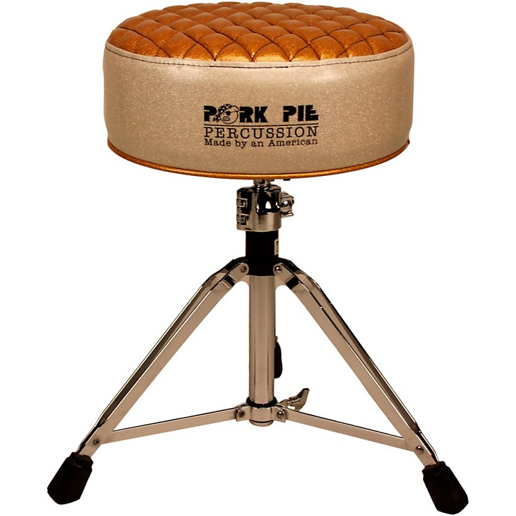 Pork Pie Deuce Diamond Tuck Round Drum Throne Silver with Gold Top