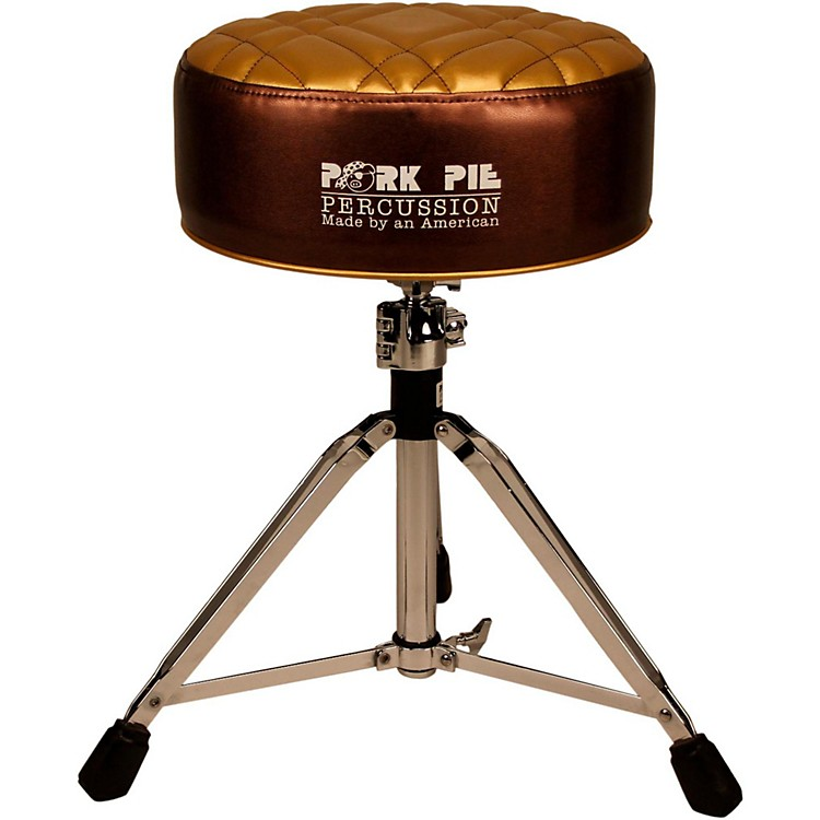 Pork Pie Deuce Half Tuck Round Drum Throne Metallic Bronze with Gold Top