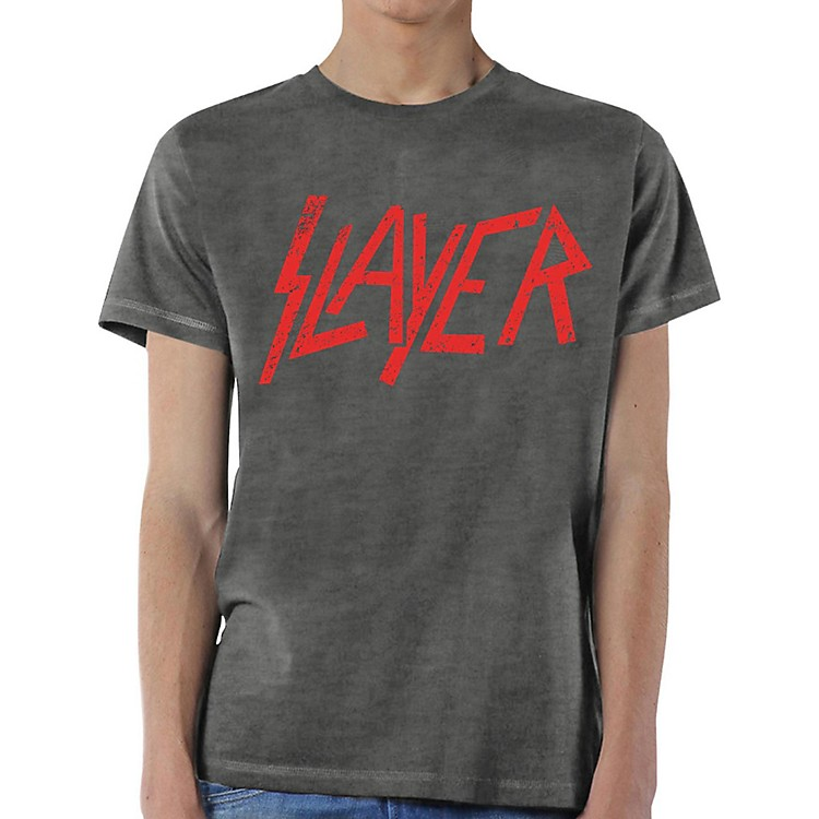 Slayer Distressed Logo T-Shirt Small Gray