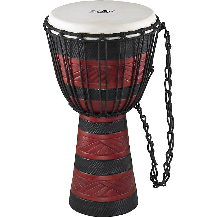 Schalloch Djembe Black/Red Carving Large