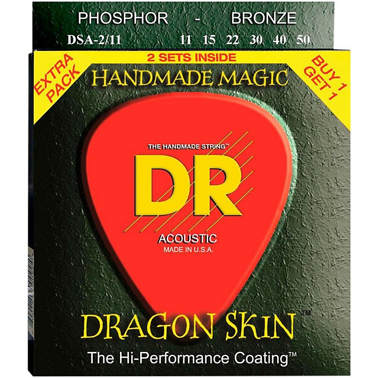 DR Strings Dragon Skin 2 Pack: Clear Coated Acoustic Phosphor Bronze Medium-Light (11-50)