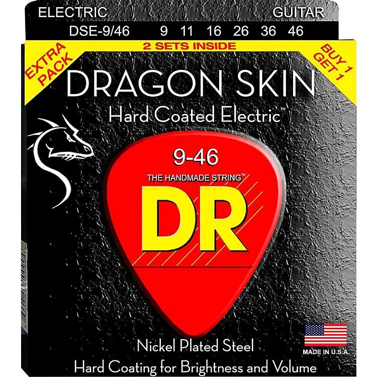 DR StringsDragon Skin (2 Pack) Hard Coated Electric Guitar Strings (9-46)