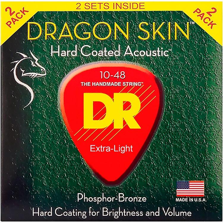 DR StringsDragon Skin Clear Coated Phosphor Bronze Light Acoustic Guitar Strings (10-48) 2 Pack