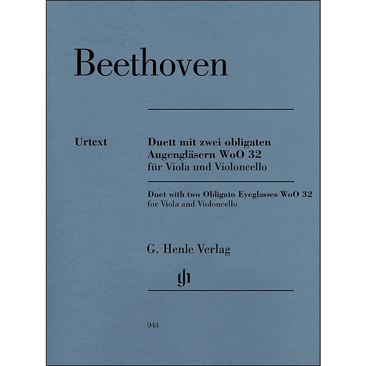 G. Henle VerlagDuet with Two Obligato Eyeglasses Woo32 for Viola And Violoncello By Beethoven / Platen