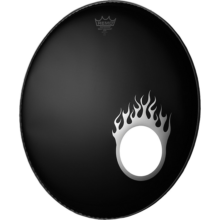 Remo Dynamo Bass Drum Port Graphic Flame Chrome 5 inch