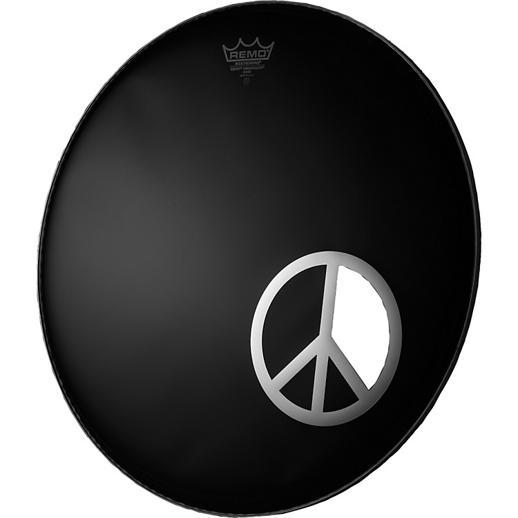 Remo Dynamo Bass Drum Port Graphic Peace Sign Chrome 6 inch