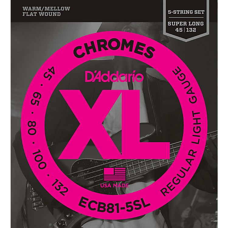 D'AddarioECB81-5SL Chromes Flat Wound 5-String Bass Soft SL Strings