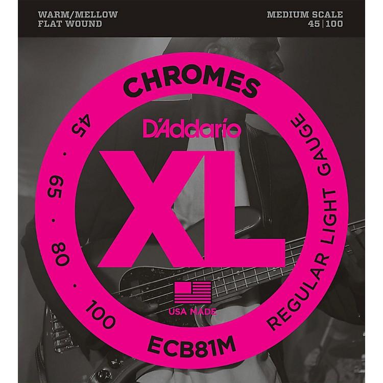 D'AddarioECB81M Chromes Flat Wound Electric Bass Strings Light Medium Scale