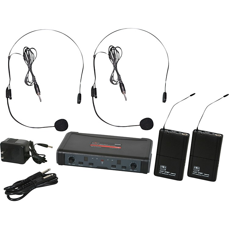 Galaxy Audio ECD Dual Channel UHF Wireless System with Dual Headset Microphones Frequency D (584-607 MHz)