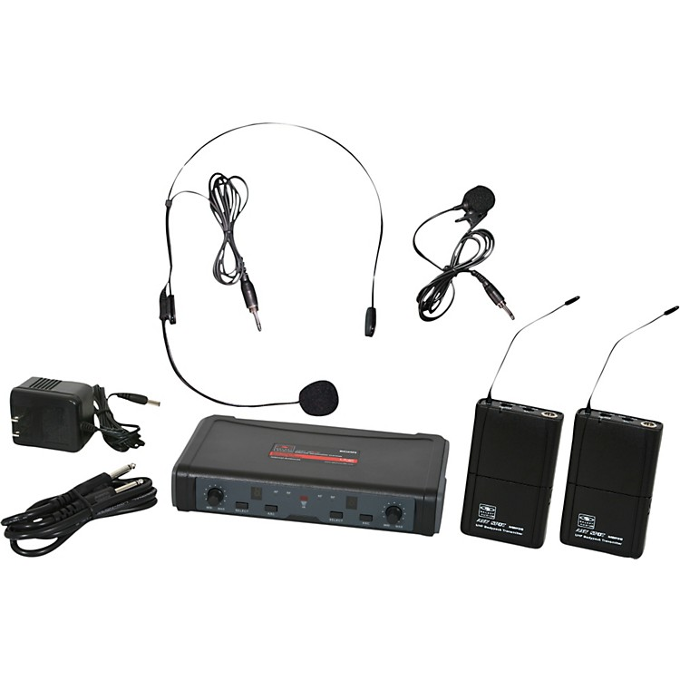 Galaxy AudioECD Dual Channel UHF Wireless System with One Lapel and One Headset MicrophoneBand L