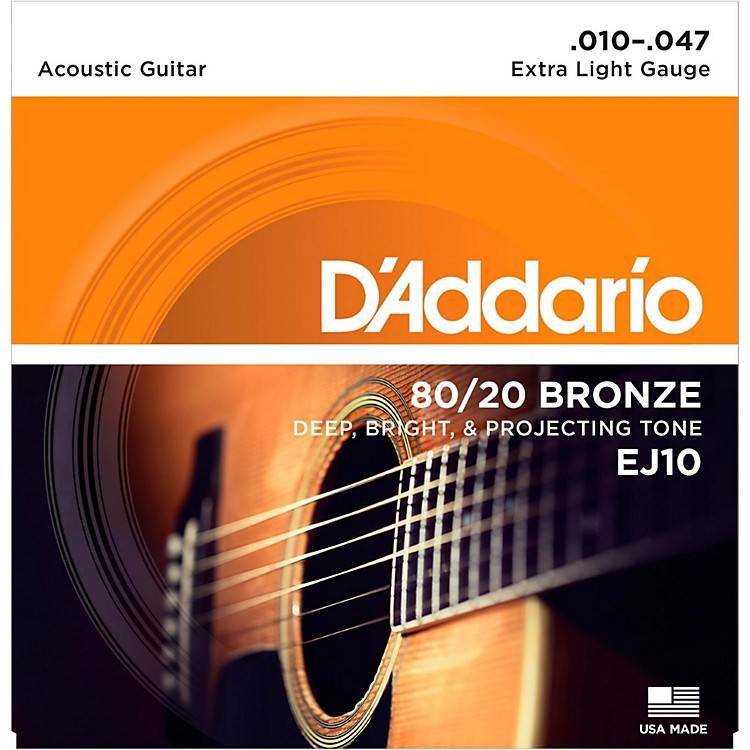 D'AddarioEJ10 80/20 Bronze Extra Light Acoustic Guitar Strings