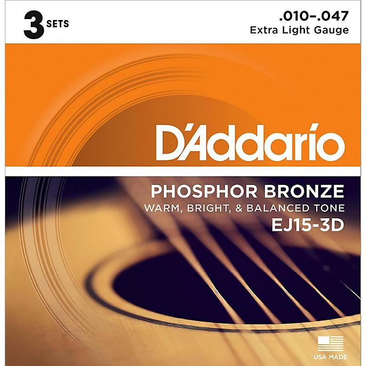 D'AddarioEJ15 Phosphor Bronze Extra Light Acoustic Strings 3-Pack