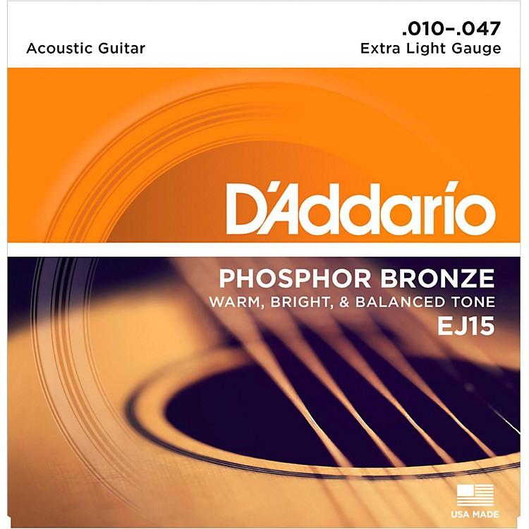 D'AddarioEJ15 Phosphor Bronze Extra Light Acoustic Strings Single-Pack