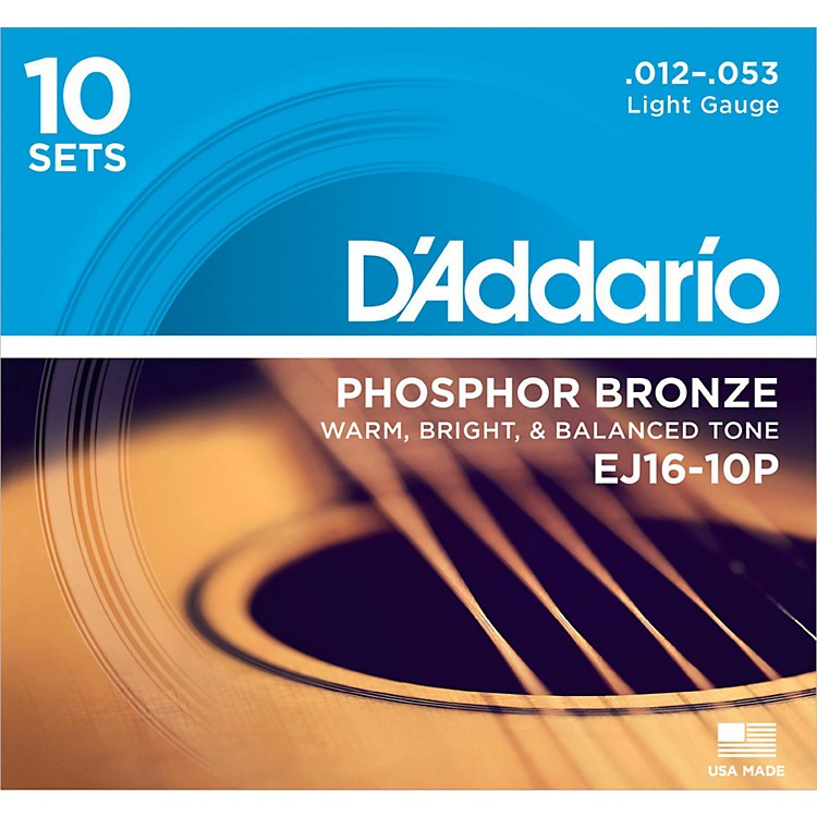 D'AddarioEJ16-10P Phosphor Bronze Light Acoustic Guitar Strings (10-Pack)