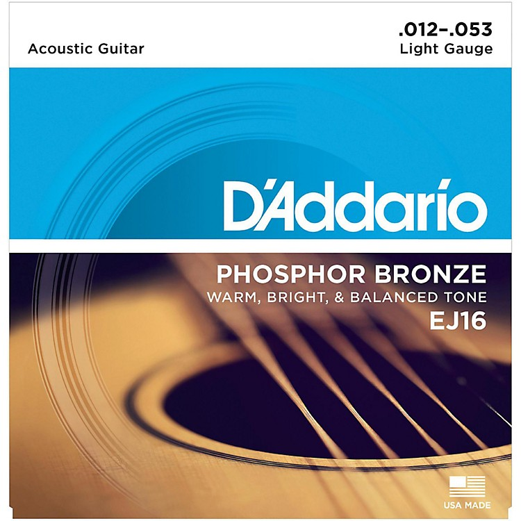 D'Addario EJ16 Phosphor Bronze Light Acoustic Guitar Strings Single-Pack