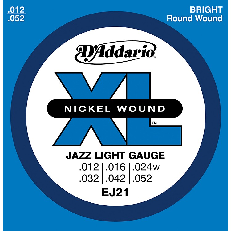 D'Addario EJ21 XL Nickel Jazz Light Electric Guitar Strings