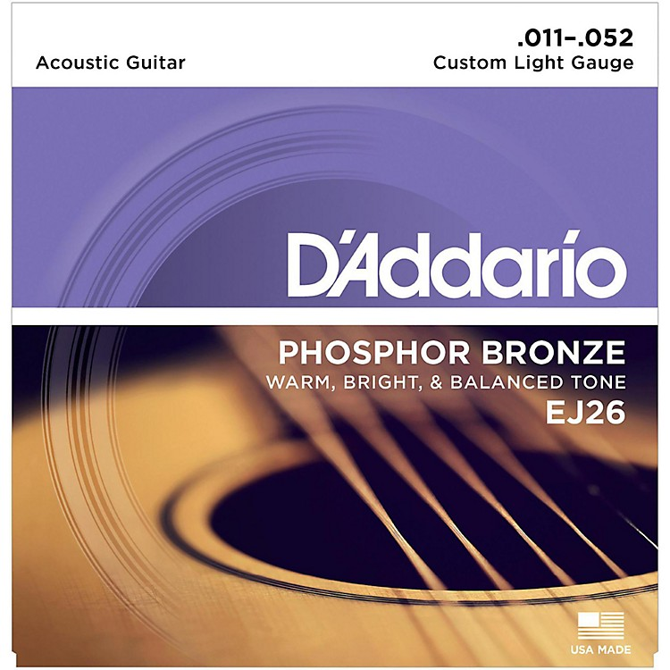 D'AddarioEJ26 Phosphor Bronze Custom Light Acoustic Guitar Strings