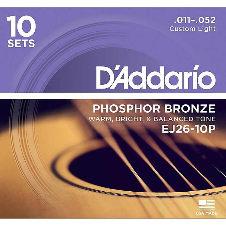 D'AddarioEJ2610-P 10-Pack Custom Light Acoustic Guitar Strings