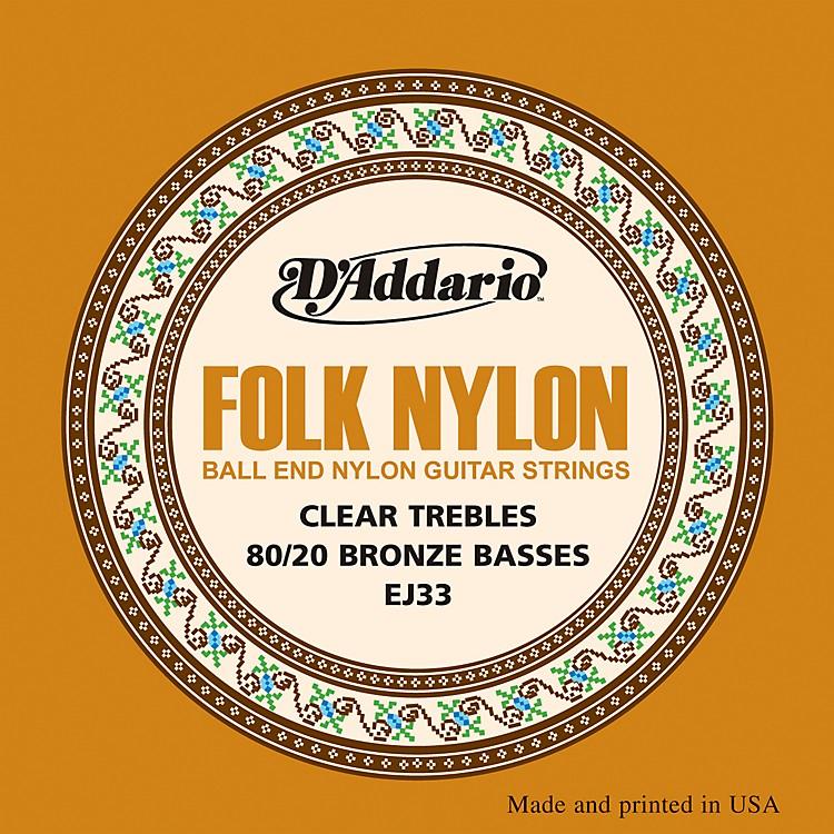 D'AddarioEJ33 Folk Nylon 80/20 Bronze/Ball End Clear Treble Guitar Strings