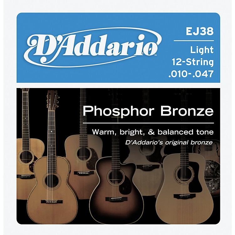 D'Addario EJ38 12-String Phosphor Bronze Light Acoustic Guitar Strings